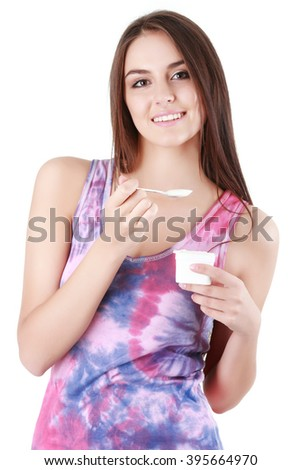 woman eat milk product