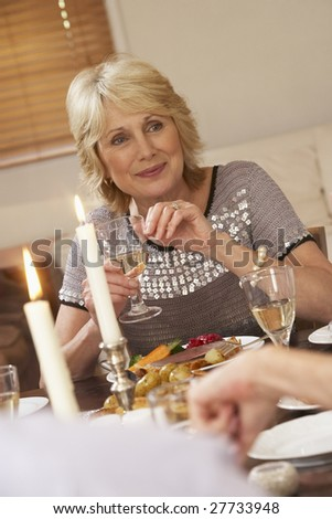 Woman Eating Dinner At Home