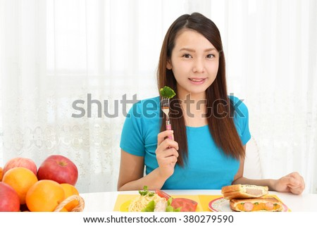 Woman eating foods
