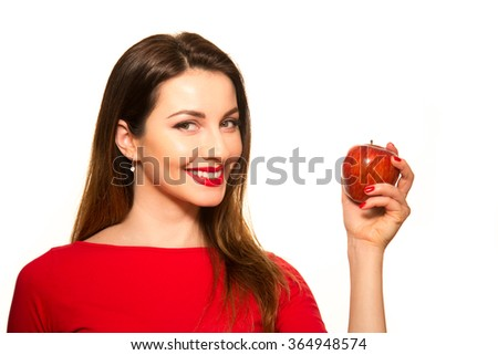 Woman Eating Red Apple Fruit Smiling Isolated on White Showing - stock photo
