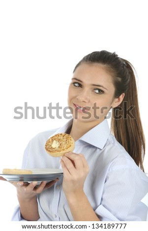 Woman Eating Toasted Crumpet