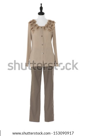 Woman elegant dress and trousers on white background