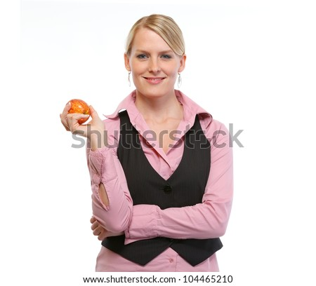Woman employee holding apple - stock photo