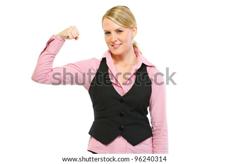 Woman employee showing biceps. Strong partner concept - stock photo