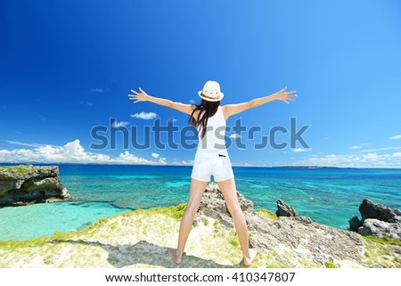 Woman enjoy the sun.