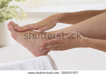 Woman enjoying a feet massage