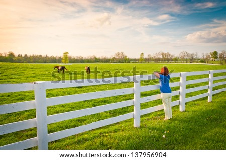 Woman  enjoying  countryside  view  with green pastures and horses at evening golden hour. - stock photo