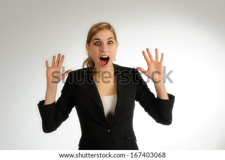 Woman enjoying success with open hands - stock photo
