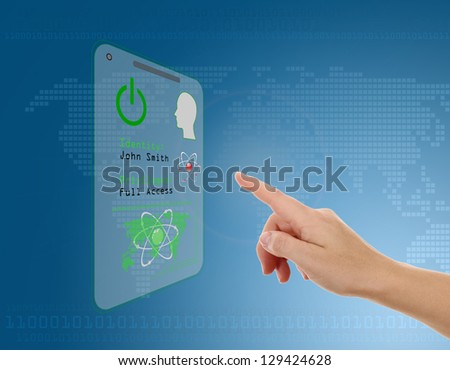 Woman entering the door or secure data by touch screen - stock photo