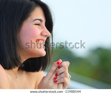 Woman excited - stock photo