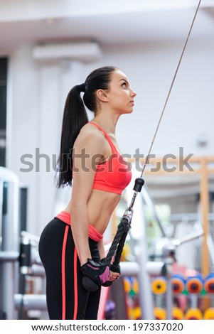 Woman exercising arms at the gym on a machine pull down, fitness center - stock photo