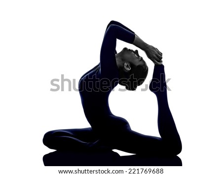 woman exercising Eka Pada Rajakapotasana One Legged King Pigeon pose yoga silhouette shadow white background - stock photo