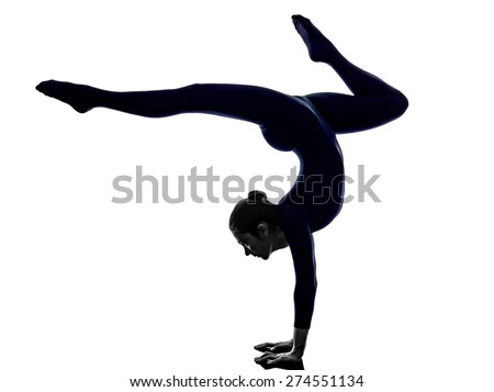 woman exercising Eka Pada Viparita Dandasana pose yoga silhouette shadow white background - stock photo