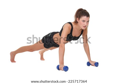 woman exercising fitness workout push ups - stock photo