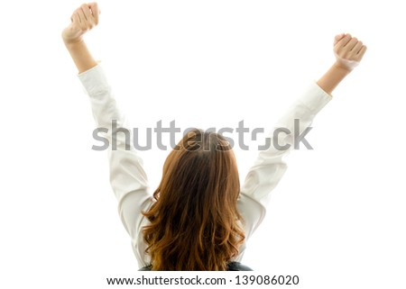 Woman exercising. Office syndrome concept. - stock photo