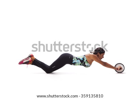 Woman exercising the abdominal muscles - stock photo