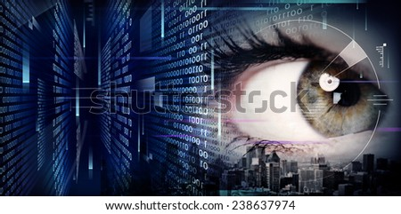 Woman eye close-up on techno background - stock photo