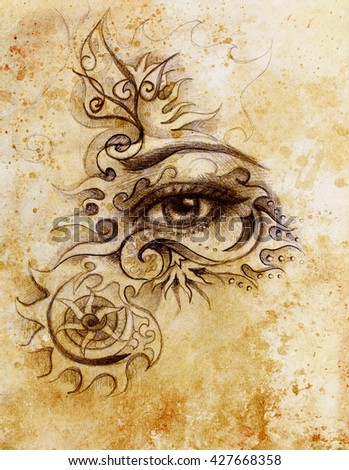 woman eye with ornament, pencil drawing, eye contact. Sepia effect and Computer collage - stock photo