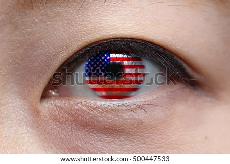 woman eye with us national flag inside