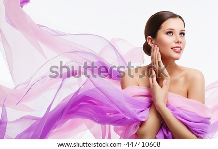 Woman Face Beauty, Fashion Model and Waving Fabric, Silk Cloth over White