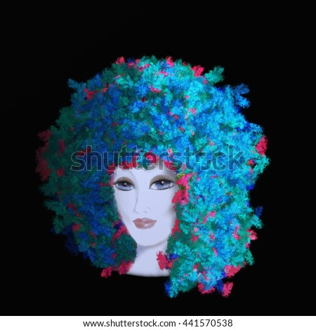 woman face blue hair black background