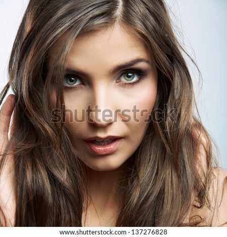 Woman face close up beauty portrait. Female model white background isolated.