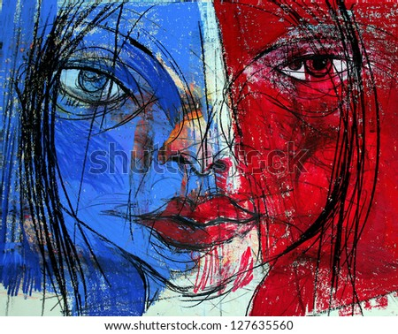Woman, Face, Frenchwoman Drawing, Illustration - stock photo