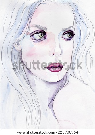 Woman face. Hand painted fashion illustration. Amazing colourful beautiful woman water-colour artwork. Watercolor portrait of beautiful girl | handmade | self made | painting - stock photo