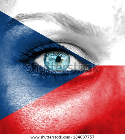 Woman face painted with flag of Czech Republic