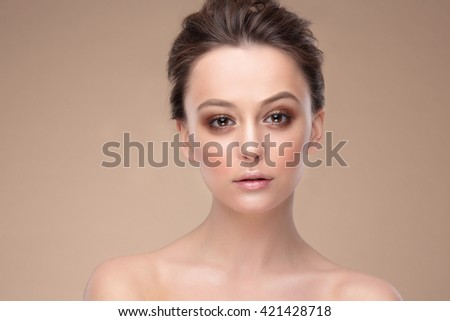 Woman face Portrait. Beautiful Spa model Girl with Perfect Fresh Clean Skin.  - stock photo