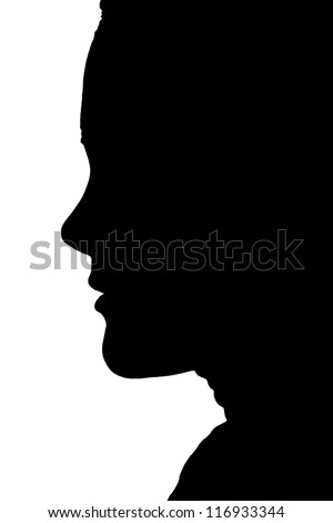 Woman Face Silhouette - stock photo