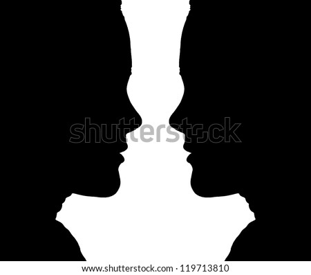 Woman Face Silhouettes - stock photo