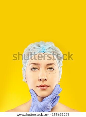 Woman face surgery close up portrait. - stock photo