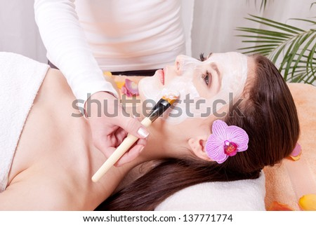 woman face with beauty treatment cometic spa wellness - stock photo