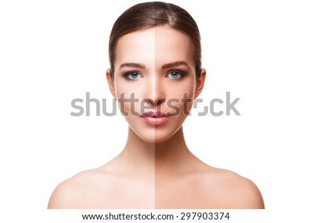 Woman face with half tan skin over white background - stock photo