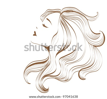 Woman face with long hair - stock photo