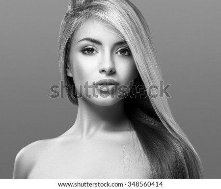 Woman face young beautiful healthy skin portrait black and white