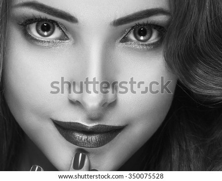Woman face young beautiful healthy skin portrait black and white - stock photo