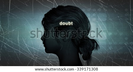 Woman Facing Doubt as a Personal Challenge Concept - stock photo