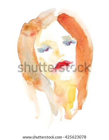 Woman fashion abstract portrait. Abstract watercolor. Watercolor painting .Fashion background. Beautiful face. - stock photo