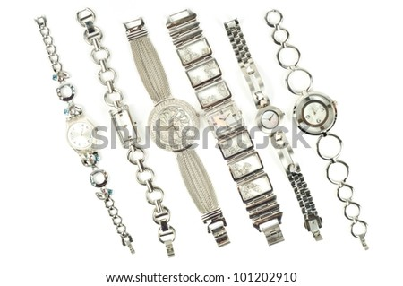 Woman fashion watch on a white background - stock photo
