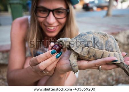 woman feeding turtle - stock photo