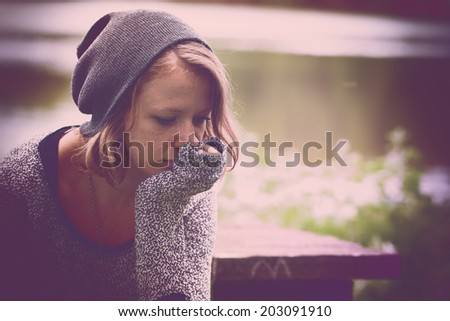 Woman feeling so alone - stock photo
