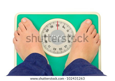 Woman feet and weight scale Help! isolated on white background