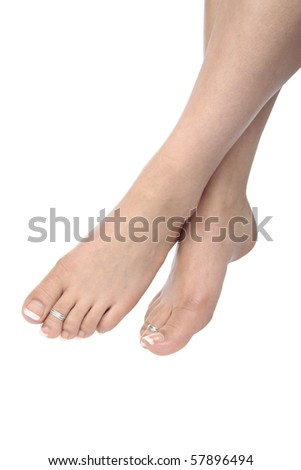 Woman feet isolated over white - stock photo