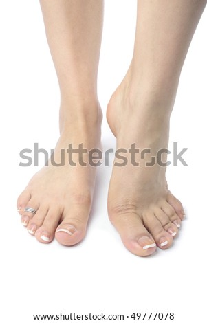Woman  feet  isolated over white background