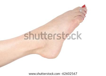 Woman  feet over white - stock photo