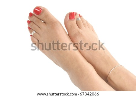 Woman  feet over white background