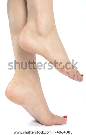 Woman  feet over white background - stock photo