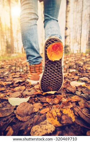 Woman Feet sneakers walking on fall leaves Outdoor with Autumn season nature on background Lifestyle Fashion trendy style - stock photo